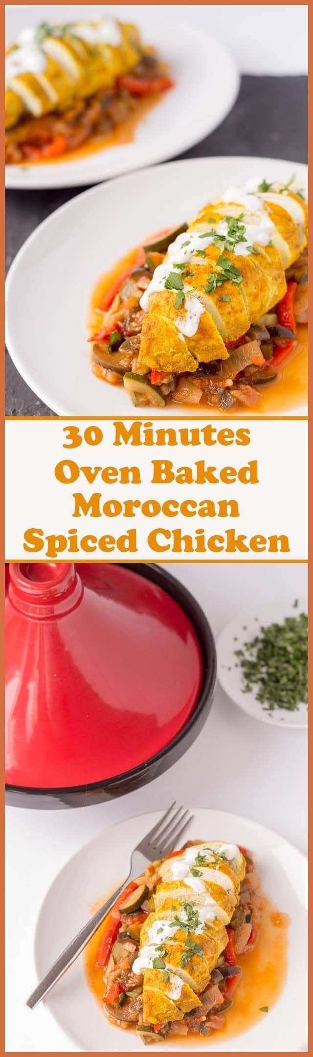 Oven baked Moroccan spiced chicken is an easy 30 minutes foil baked chicken recipe which takes very little effort to make. With just 5 ingredients and 5 steps you'll soon have this tasty quick healthy meal on the dinner table.
