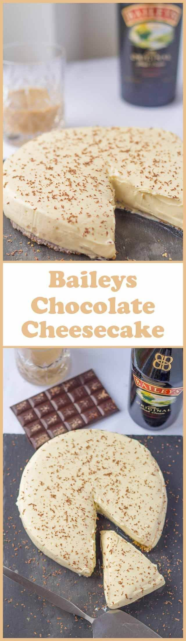 This mouthwatering Baileys chocolate cheesecake has a layer of chocolate ganache on top of the biscuit base which gives even more luxury to an already decadent creamy dessert.