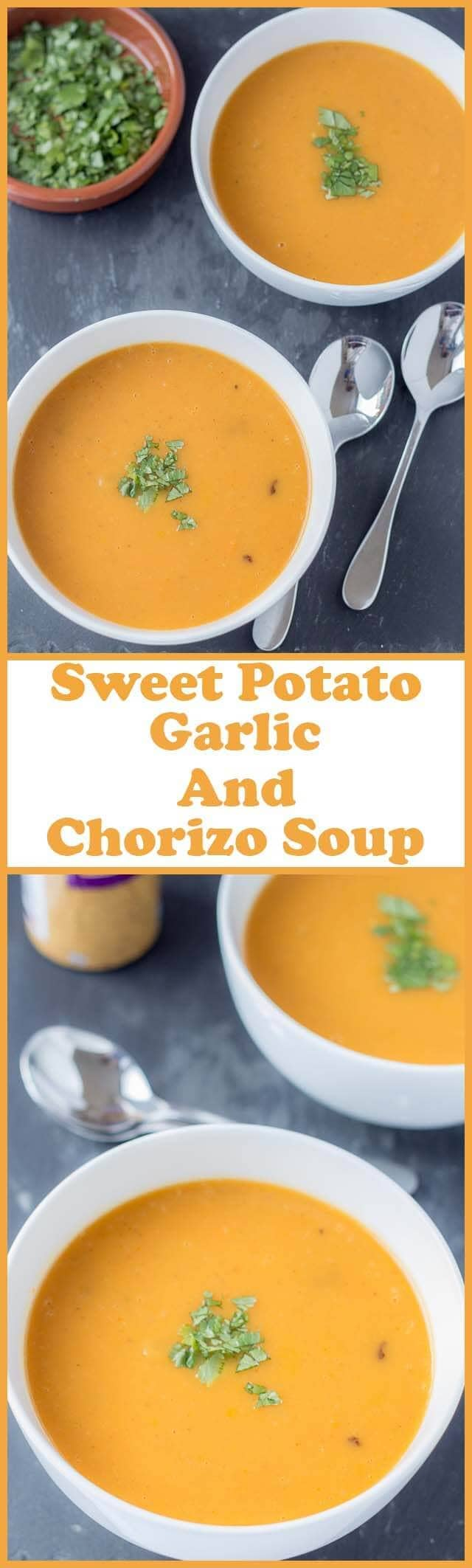 The amazing flavours of this sweet potato garlic and chorizo soup combine to form a deliciously warming winter soup. This low calorie soup is both filling and satisfying too.