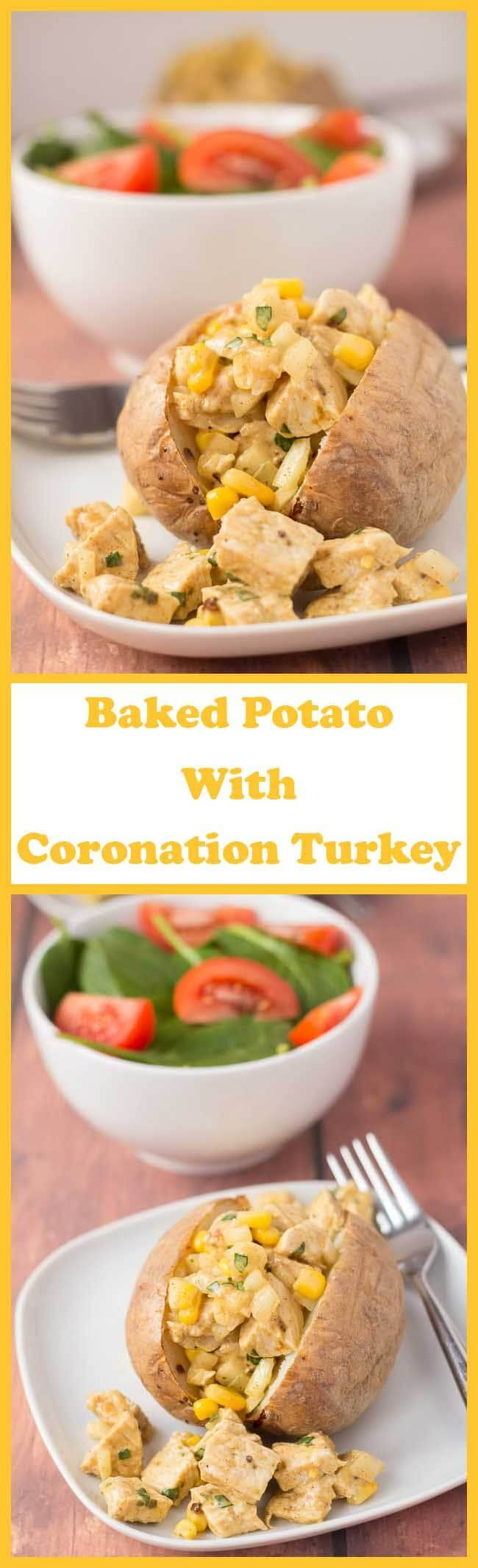This baked potato with Coronation turkey recipe makes for a delicious quick healthy meal. Based on the classic Coronation chicken with fresh and lightly spiced flavours it's a great way of using up leftover turkey too.