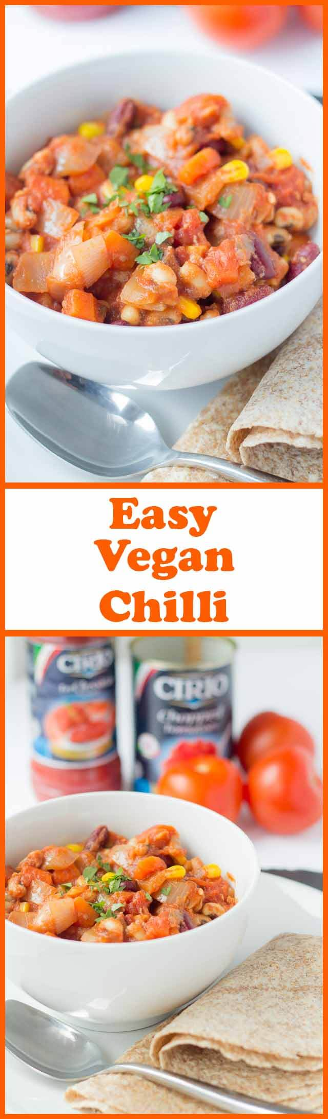 Easy vegan chilli is just that an all in one pot of delicious and easily made vegetables and beans. It's packed full of vitamins and with this quick healthy meat free chilli alternative you'll find you won't be missing meat at all!