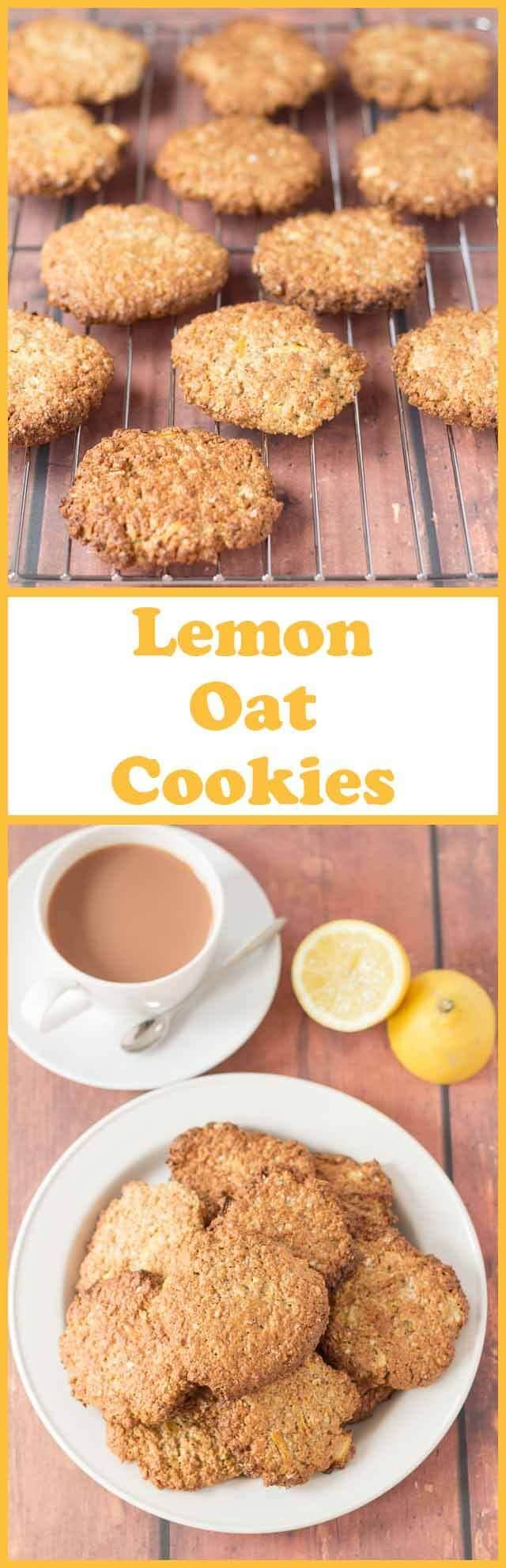 Lemon oat cookies are a delicious and simple bake with an amazing fresh lemon taste. Made with oats, wholemeal flour, coconut oil and lemon you'll love this healthier cookie recipe!