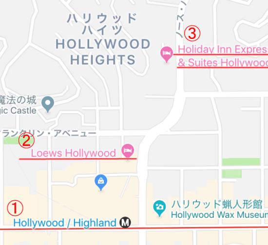 ハリウッドホテル周辺の地図