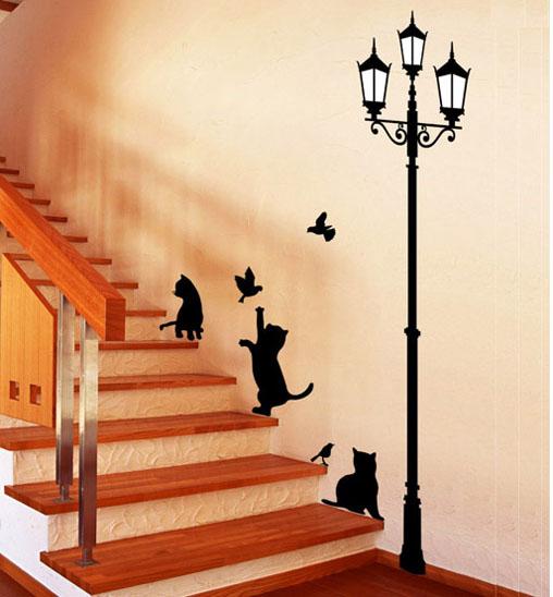 131026wallcat - 階段にぴったりな、猫ウォールステッカー