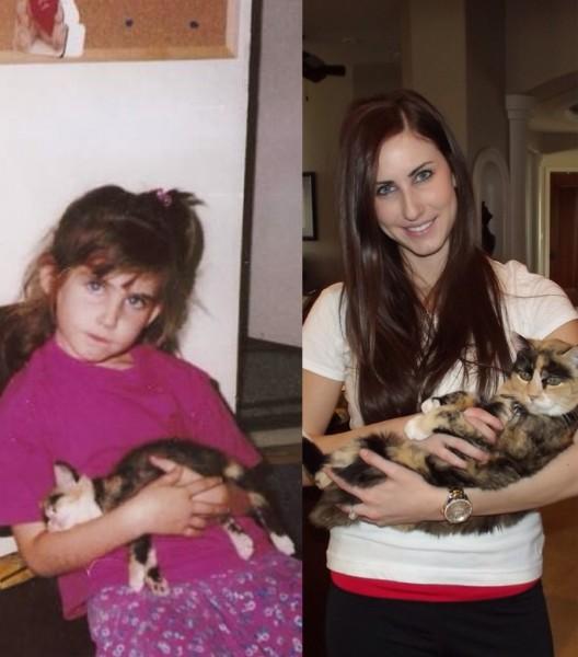 14030718yearsoldcat 528x600 - 生後6週目だった子猫と5歳の女の子、共に成長して18歳と23歳に