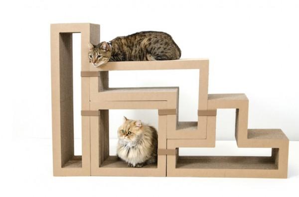 141111Katris 600x396 - 段ボール製テトリスブロック、組合せ次第で家具にも猫の遊び場にも