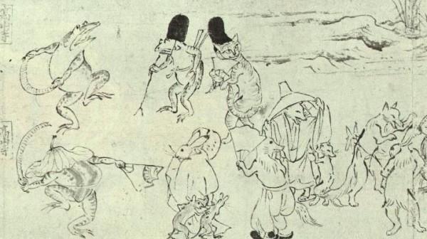 150502catgiga 600x336 - 「鳥獣人物戯画巻」に描かれた烏帽子猫が、やたらとかわいい