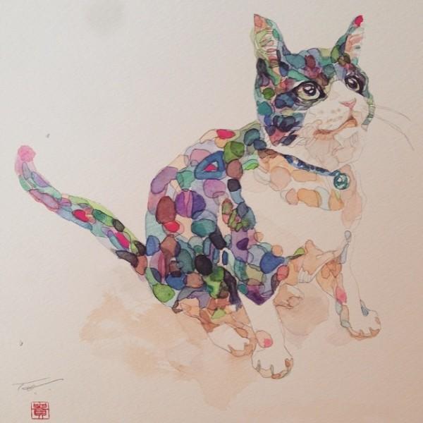 150925takahirowatanabe03 600x600 - 猫と光と色彩と、かわいく妖艶な猫絵画