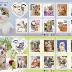 つぶらな瞳の猫切手シート、かわいさ満点20匹