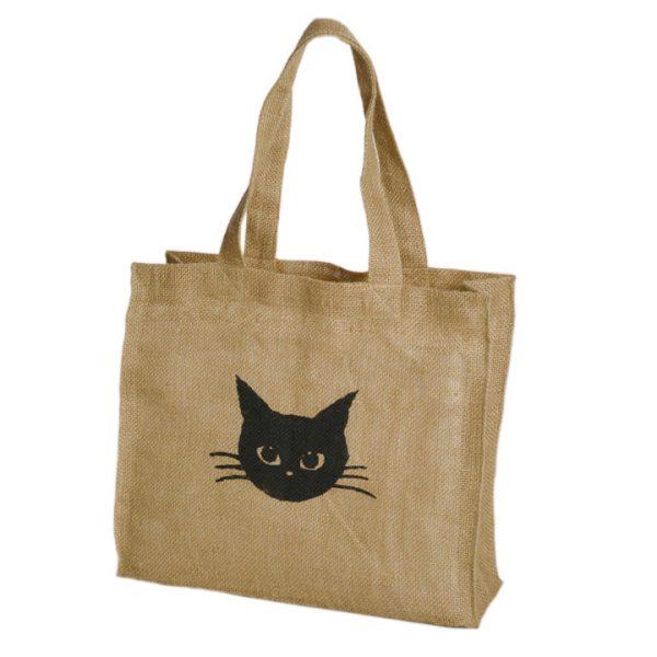 160530catbag03 600x600 - つぶらな瞳のキュートな黒猫、ジュートのトートの真ん中に