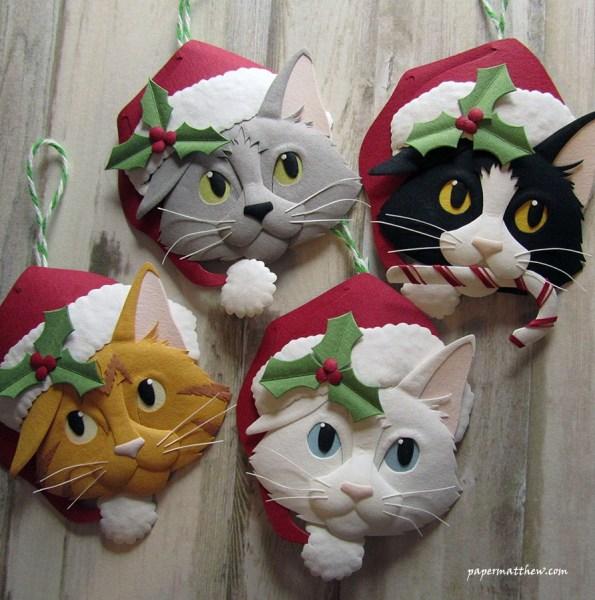171213KitSanta 595x600 - ぴょっこりと猫が顔出す靴下から、紙製立体クリスマスオーナメント