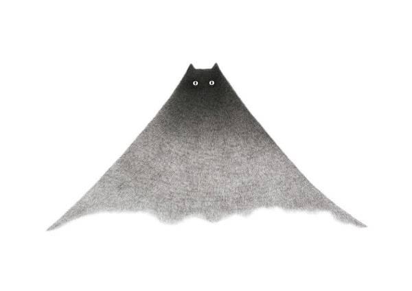 180409catmountain01 600x424 - 黒猫と貴き山とが壮美に融合、手描きで緻密なイラストレーション