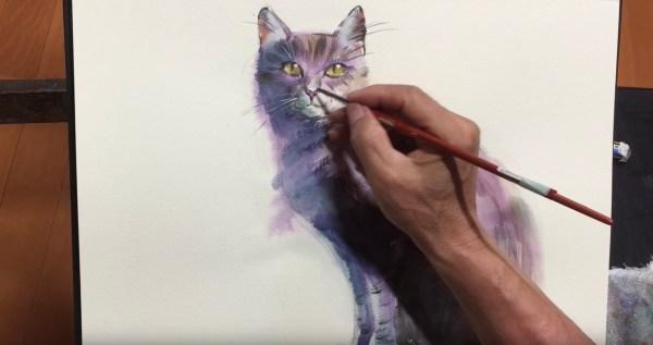 181020catpainting 600x317 - 水彩で猫を上手に描くコツ、5分の動画でプロが解説