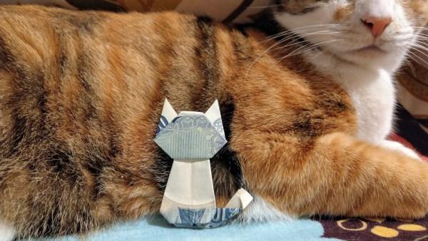 181223cat02 2000 600x338 - お年玉に猫のオブジェの折り紙を、千円札でも制作可能