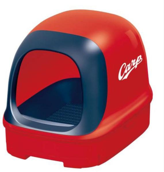 200601cat02 570x600 - うちの猫も赤ヘル軍団の一員に、猫のトイレにカープコラボモデルが登場