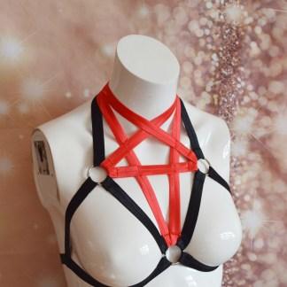 Red Darkthet – pentagram elastic bra harness