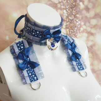 Gothic Kitten play collar and cuffs - Moon Crystal