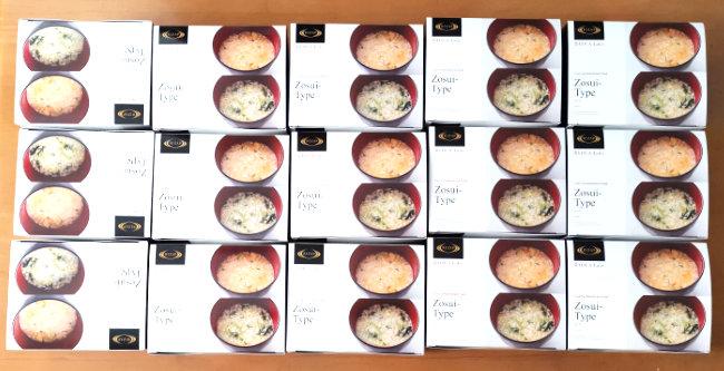 SDエンターの優待品「オリジナル雑炊風(鮭・キムチ)4食セット」