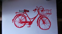 Red Bicycle using a photo-polymer plate