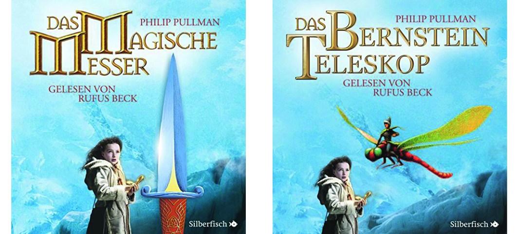 """Cover der Hörbücher: """"Das Magische Messer"""" und """"Das Bernstein Teleskop"""""""