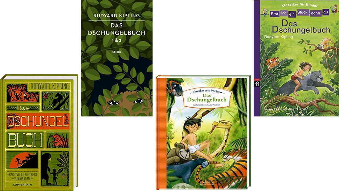 Vier verschiedene Buchcover vom Dschungelbuch
