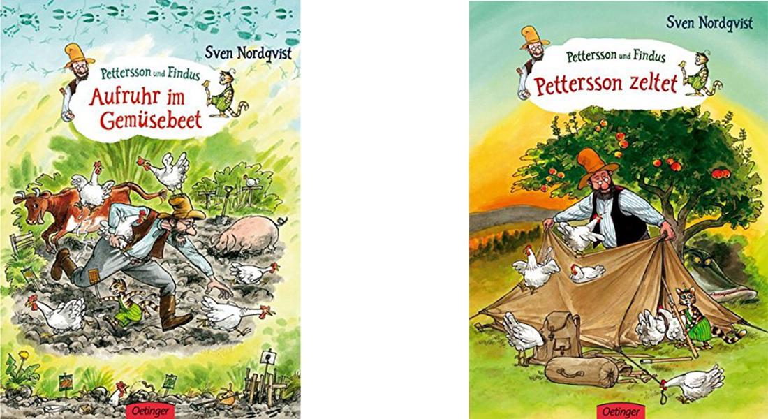 """Coverbilder der Bücher """"Aufruhr im Gemüsebeet"""" und """"Pettersson zeltet"""" von Sven Nordqvist."""