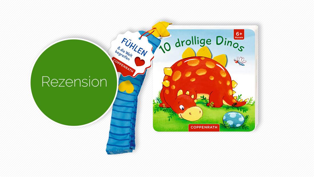 """Cover vom Pappbilderbuch """"Mein erstes Fühl-Buch für den Buggy: 10 drollige Dinos: Fühlen und die Welt begreifen"""""""