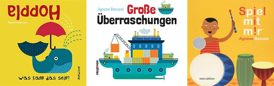 """Coverbilder der Pappbilderbücher """"Hoppla: Was kann das sein?"""", """"Große Überraschungen"""" und """"Spiel mit mir!"""" von Agnese Baruzzi"""