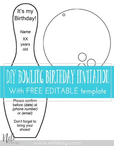 diy bowling birthday invitations