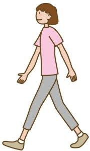 歩き方②:かかとから着地、指で地面を蹴るように