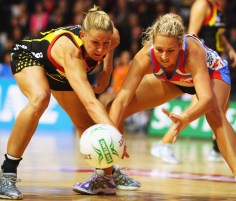 Netball players on sprung timber sports floor