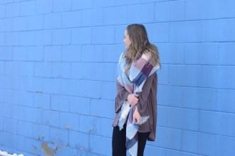 2017 Fashion Trends, open shoulder shirt, pink plaid blanket scarf
