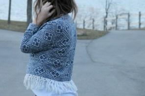 Aztec Blue Fringe Jacket