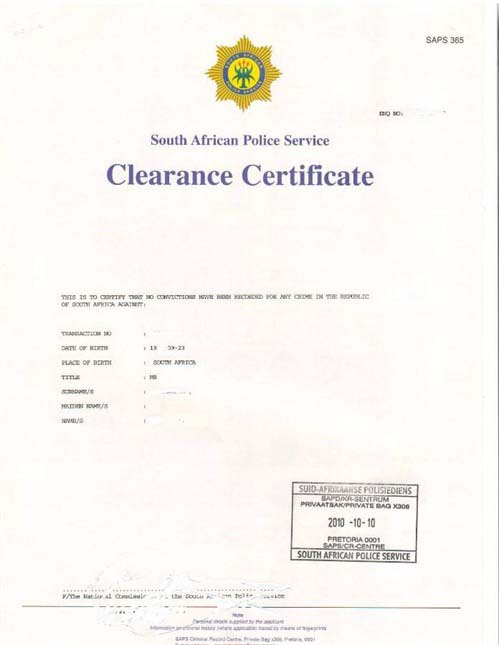 South African Police Clearance Certificate; Criminal Record Centre South Africa; Nelmitravel;