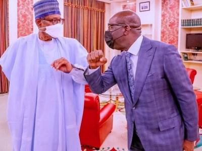 JUST IN: Buhari meets Obaseki in Aso Villa