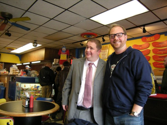 Nels Lindahl and Andy at Hot Doug's in Chicago