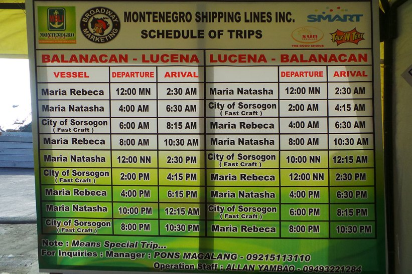 Montenegro Shipping Lines schedule