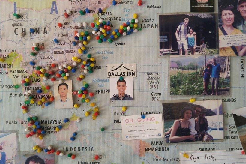 Dallas Inn map and photo board