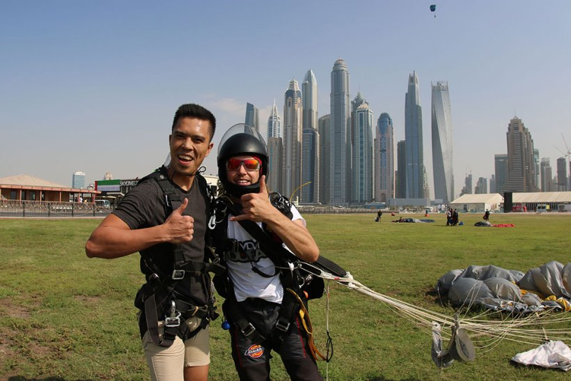 With the experienced instructor after the jump