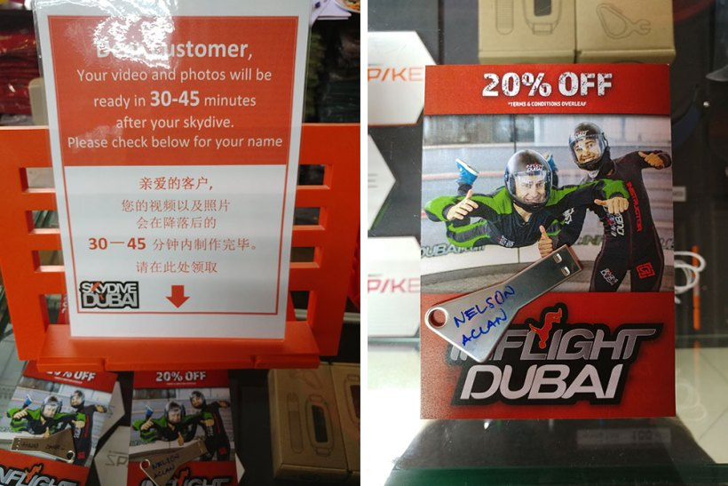 Skydive Dubai video and photos in a USB flash drive