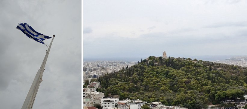 Greece flag and Philopappos Hill in Athens