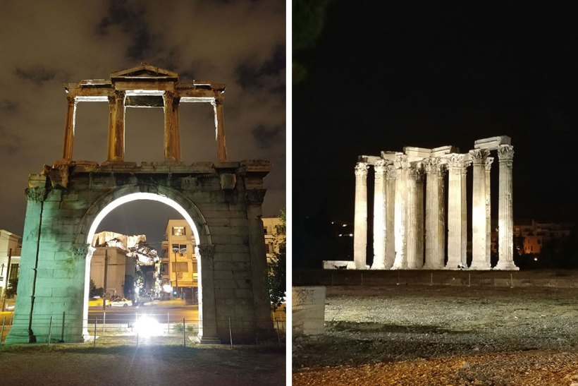 Hadrian's Gate & Temple of Olympian Zeus at night