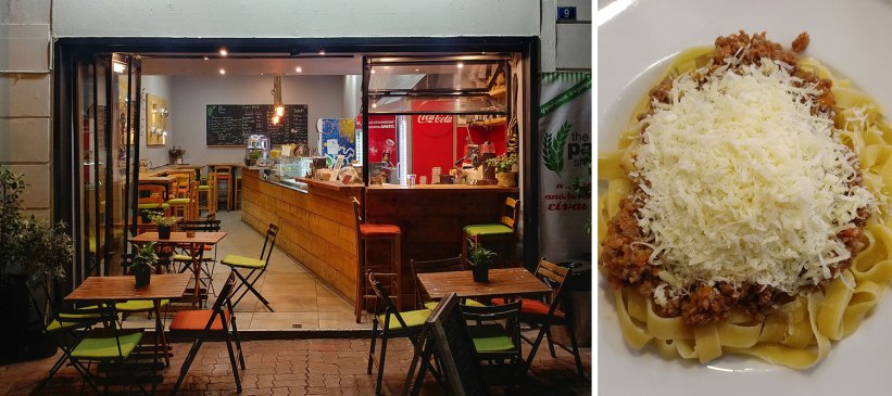 Cheap pasta restaurant in Athens, Greece