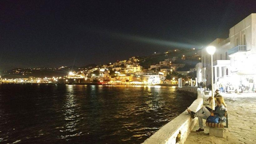 Walking around Mykonos Town at night