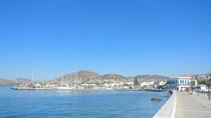 Arriving in Paros, Greece