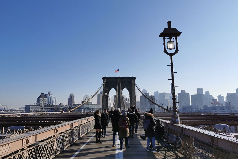 Brooklyn Bridge in broad daylight