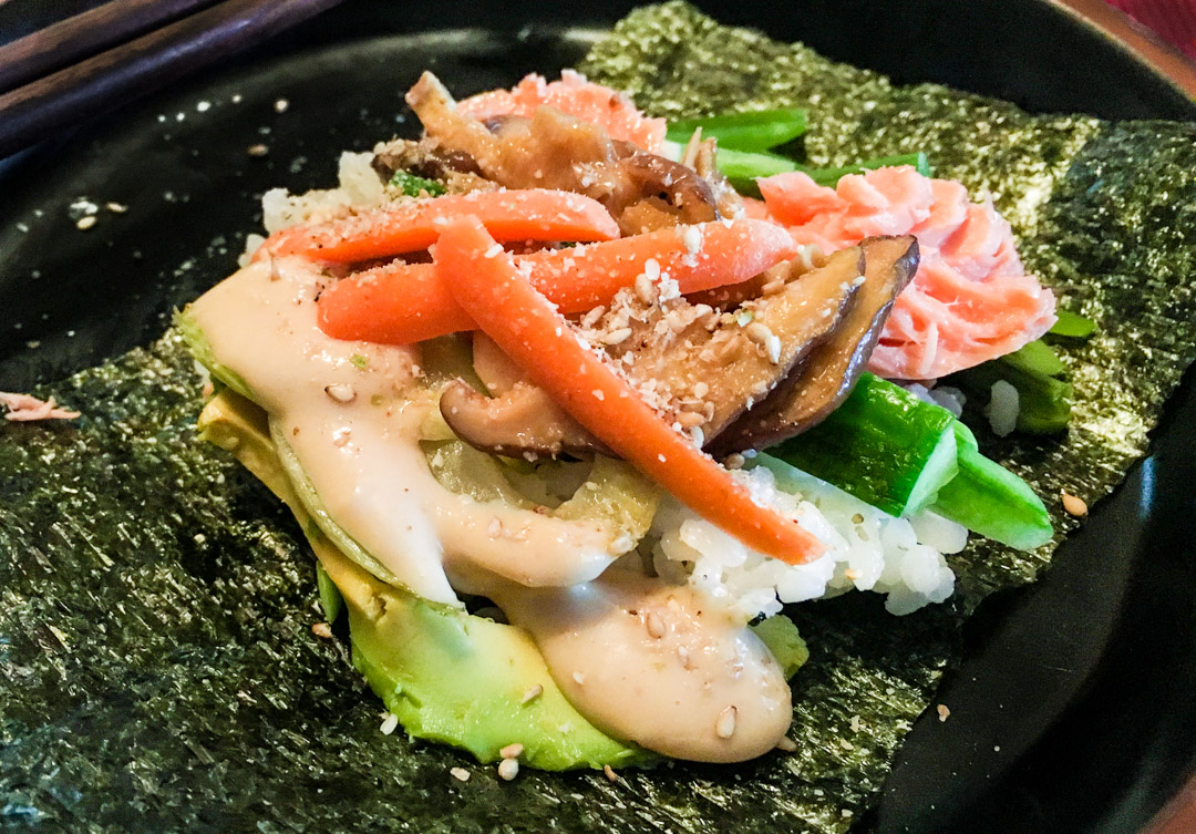 Sushi with miso sauce