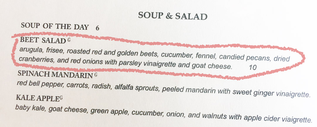 Soup and Salad Menu @ Flour and Vine in Austin