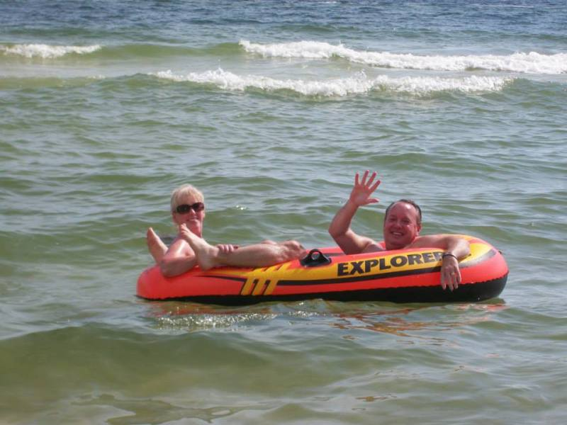gina and me in raft in ocean