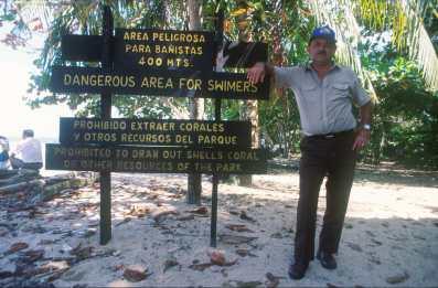 Costa Rica, Playa Cahuita, Vigilante, reserva natural, retrato